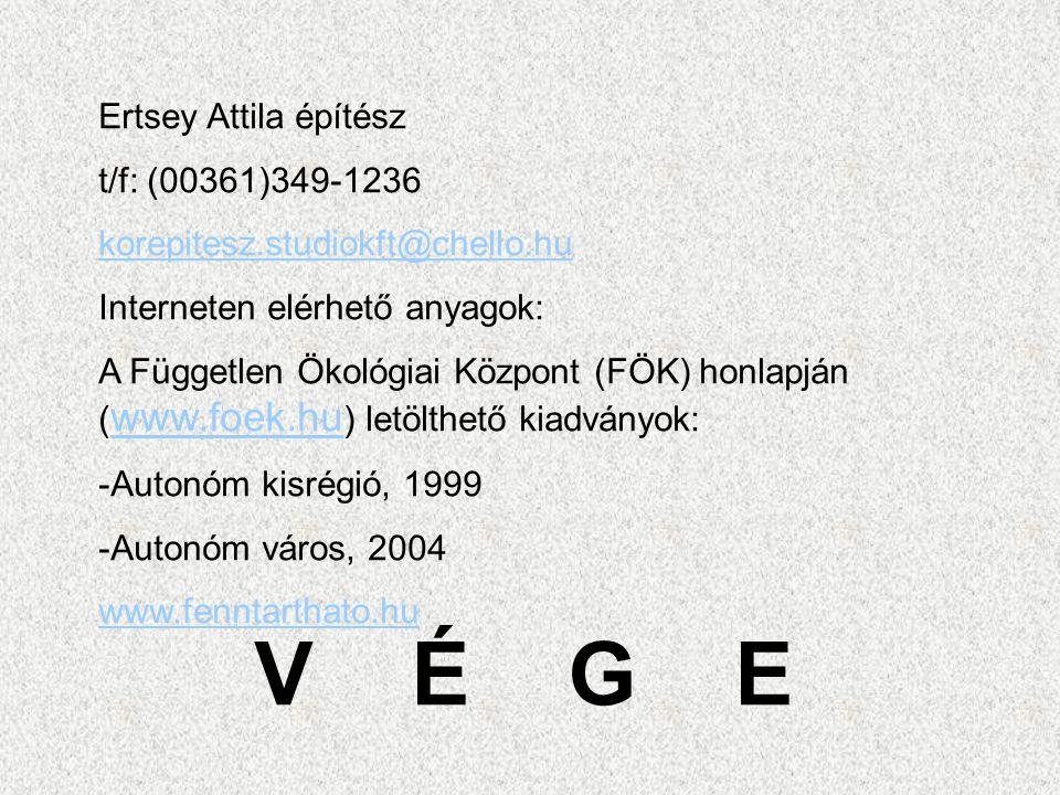 V É G E Ertsey Attila építész t/f: (00361)349-1236 korepitesz.studiokft@chello.hu Interneten elérhető anyagok: A Független Ökológiai Központ (FÖK) honlapján ( www.foek.hu ) letölthető kiadványok: www.foek.hu -Autonóm kisrégió, 1999 -Autonóm város, 2004 www.fenntarthato.hu