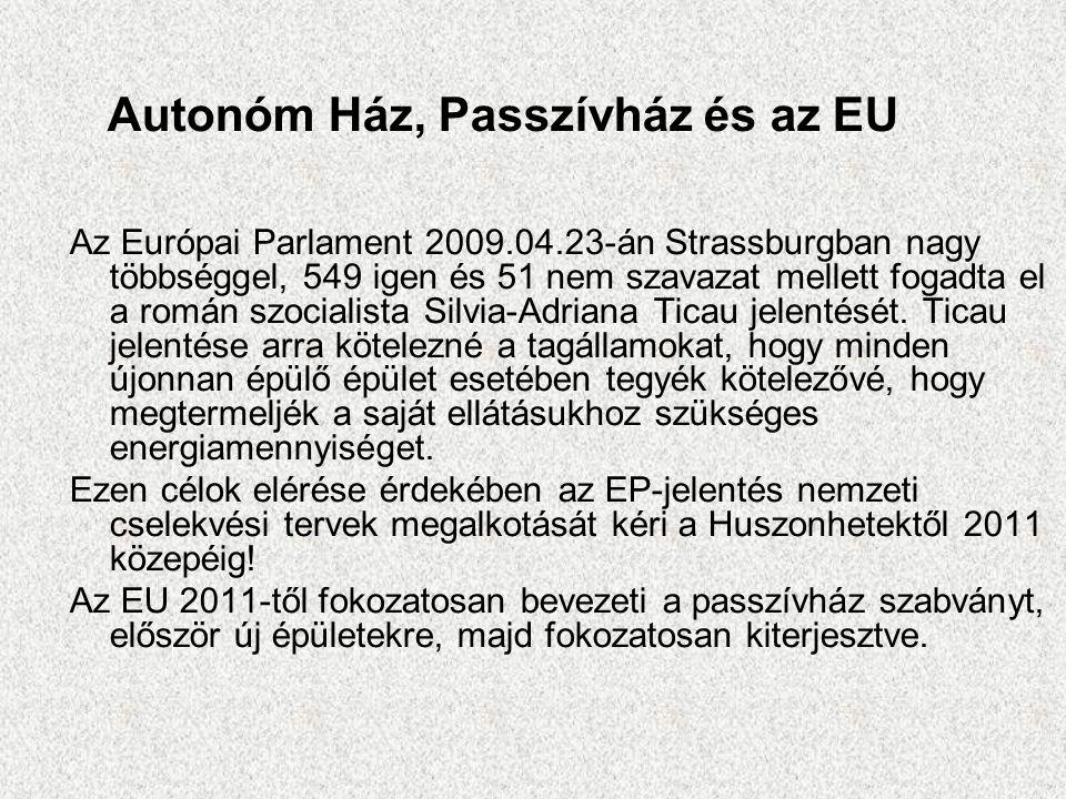 Autonóm Ház, Passzívház és az EU Az Európai Parlament 2009.04.23-án Strassburgban nagy többséggel, 549 igen és 51 nem szavazat mellett fogadta el a román szocialista Silvia-Adriana Ticau jelentését.