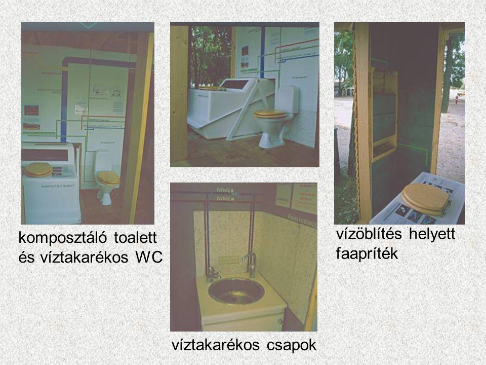 komposztáló toalett és víztakarékos WC víztakarékos csapok vízöblítés helyett faapríték