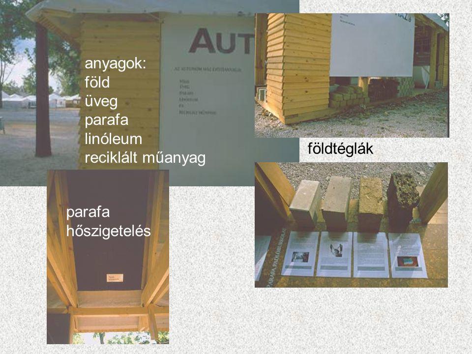 földtéglák parafa hőszigetelés anyagok: föld üveg parafa linóleum reciklált műanyag
