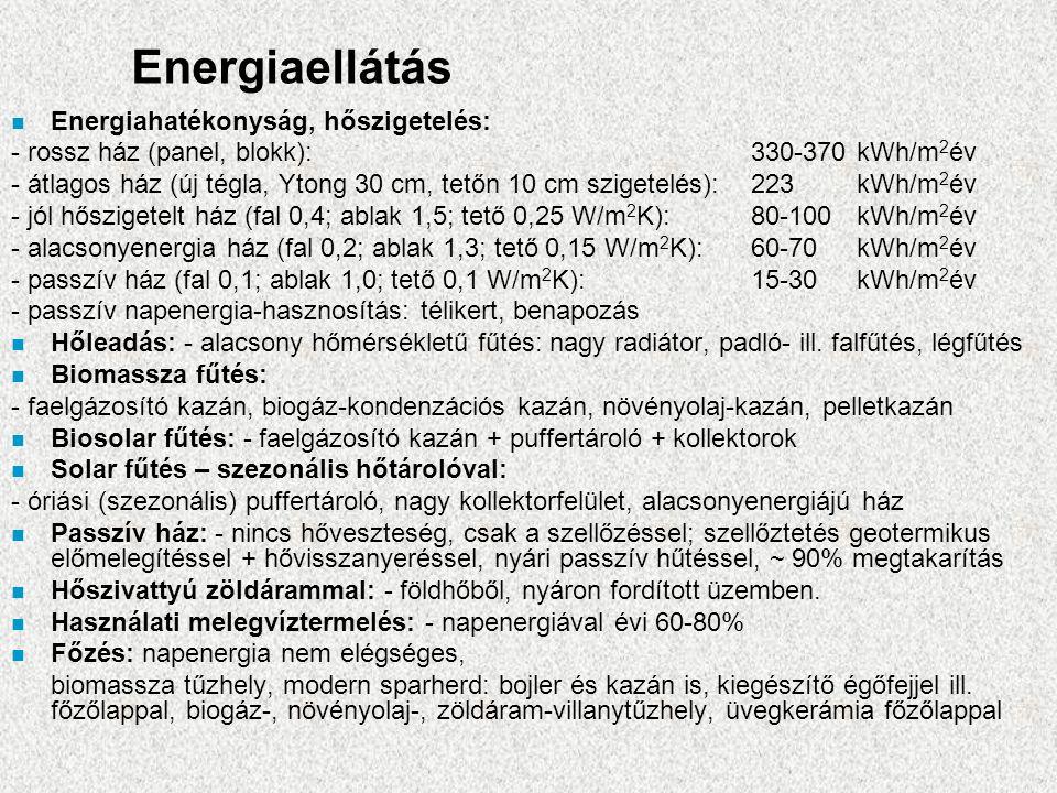 Energiaellátás n Energiahatékonyság, hőszigetelés: - rossz ház (panel, blokk):330-370 kWh/m 2 év - átlagos ház (új tégla, Ytong 30 cm, tetőn 10 cm szigetelés):223kWh/m 2 év - jól hőszigetelt ház (fal 0,4; ablak 1,5; tető 0,25 W/m 2 K):80-100kWh/m 2 év - alacsonyenergia ház (fal 0,2; ablak 1,3; tető 0,15 W/m 2 K):60-70kWh/m 2 év - passzív ház (fal 0,1; ablak 1,0; tető 0,1 W/m 2 K):15-30kWh/m 2 év - passzív napenergia-hasznosítás: télikert, benapozás n Hőleadás: - alacsony hőmérsékletű fűtés: nagy radiátor, padló- ill.