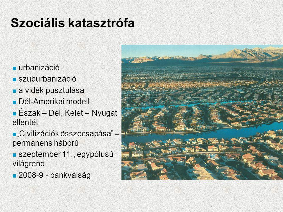 """Szociális katasztrófa n urbanizáció n szuburbanizáció n a vidék pusztulása n Dél-Amerikai modell n Észak – Dél, Kelet – Nyugat ellentét n """"Civilizációk összecsapása – permanens háború n szeptember 11., egypólusú világrend n 2008-9 - bankválság"""