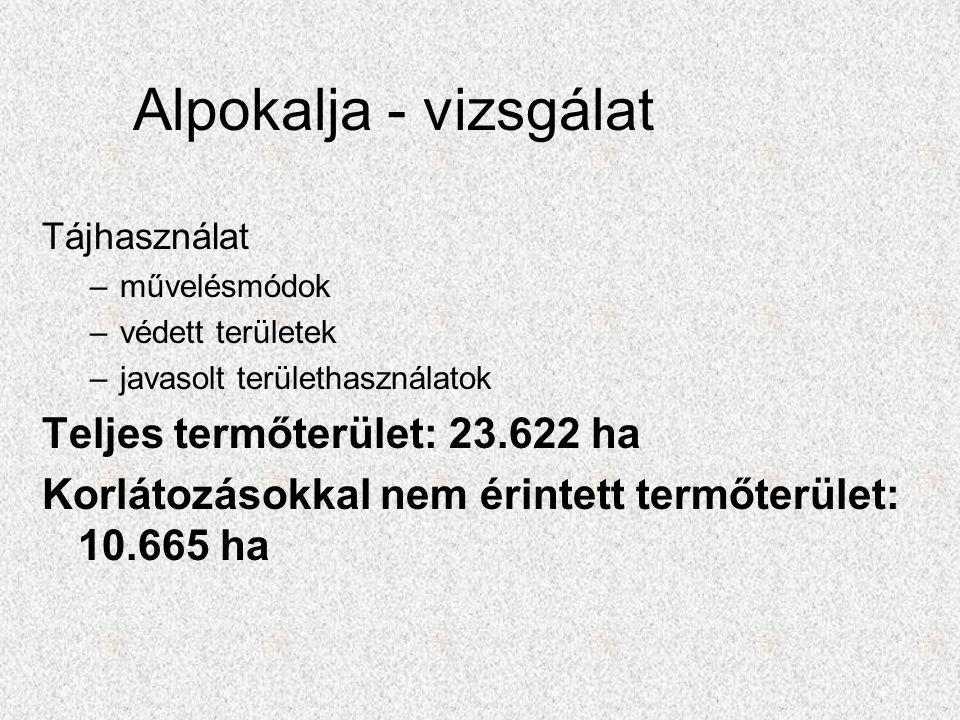 Alpokalja - vizsgálat Tájhasználat –művelésmódok –védett területek –javasolt területhasználatok Teljes termőterület: 23.622 ha Korlátozásokkal nem érintett termőterület: 10.665 ha