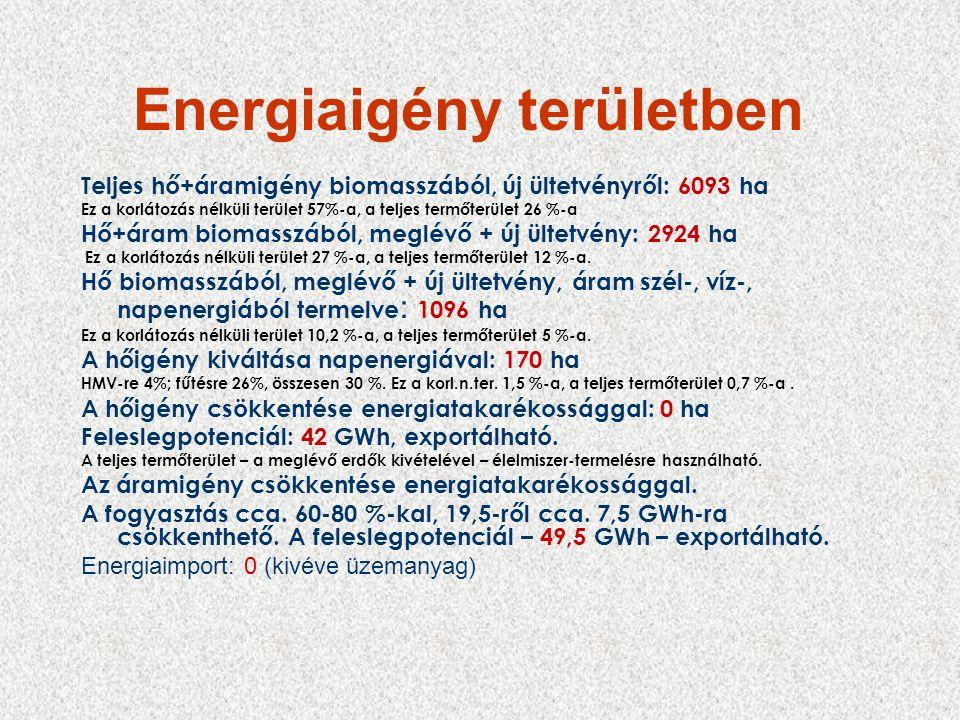 Energiaigény területben Teljes hő+áramigény biomasszából, új ültetvényről: 6093 ha Ez a korlátozás nélküli terület 57%-a, a teljes termőterület 26 %-a Hő+áram biomasszából, meglévő + új ültetvény: 2924 ha Ez a korlátozás nélküli terület 27 %-a, a teljes termőterület 12 %-a.