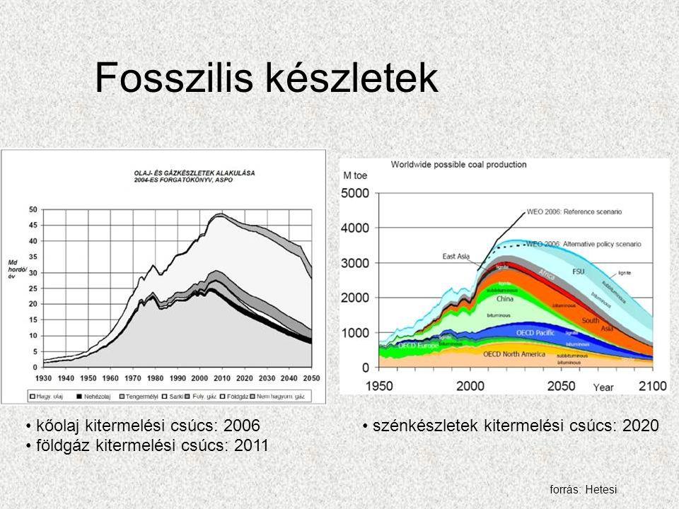 Fosszilis készletek kőolaj kitermelési csúcs: 2006 földgáz kitermelési csúcs: 2011 szénkészletek kitermelési csúcs: 2020 forrás: Hetesi