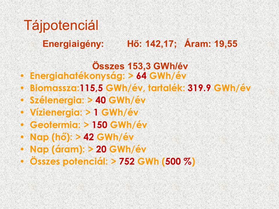 Tájpotenciál Energiaigény: Hő: 142,17; Áram: 19,55 Összes 153,3 GWh/év Energiahatékonyság: > 64 GWh/év Biomassza:115,5 GWh/év, tartalék: 319.9 GWh/év Szélenergia: > 40 GWh/év Vízienergia: > 1 GWh/év Geotermia: > 150 GWh/év Nap (hő): > 42 GWh/év Nap (áram): > 20 GWh/év Összes potenciál: > 752 GWh (500 %)