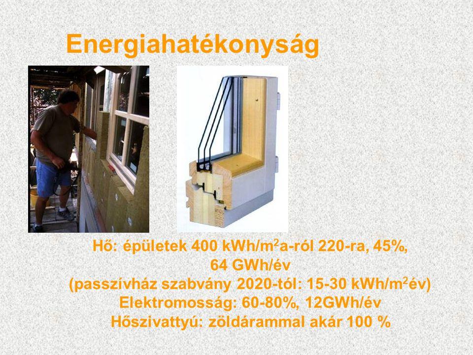 Energiahatékonyság Hő: épületek 400 kWh/m 2 a-ról 220-ra, 45%, 64 GWh/év (passzívház szabvány 2020-tól: 15-30 kWh/m 2 év) Elektromosság: 60-80%, 12GWh/év Hőszivattyú: zöldárammal akár 100 %