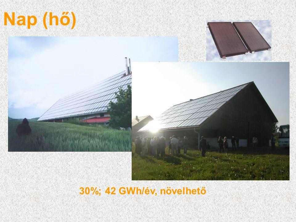 Nap (hő) 30%; 42 GWh/év, növelhető