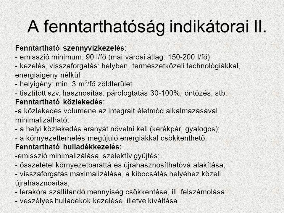 A fenntarthatóság indikátorai II.
