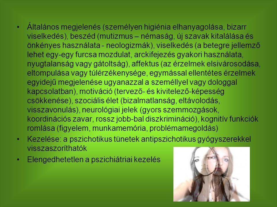 Általános megjelenés (személyen higiénia elhanyagolása, bizarr viselkedés), beszéd (mutizmus – némaság, új szavak kitalálása és önkényes használata - neologizmák), viselkedés (a betegre jellemző lehet egy-egy furcsa mozdulat, arckifejezés gyakori használata, nyugtalanság vagy gátoltság), affektus (az érzelmek elsivárosodása, eltompulása vagy túlérzékenysége, egymással ellentétes érzelmek egyidejű megjelenése ugyanazzal a személlyel vagy dologgal kapcsolatban), motiváció (tervező- és kivitelező-képesség csökkenése), szociális élet (bizalmatlanság, eltávolodás, visszavonulás), neurológiai jelek (gyors szemmozgások, koordinációs zavar, rossz jobb-bal diszkrimináció), kognitív funkciók romlása (figyelem, munkamemória, problémamegoldás) Kezelése: a pszichotikus tünetek antipszichotikus gyógyszerekkel visszaszoríthatók Elengedhetetlen a pszichiátriai kezelés