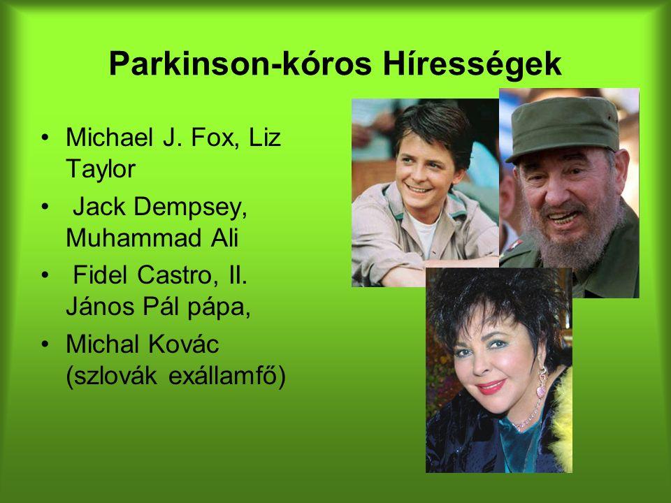 Parkinson-kóros Hírességek Michael J. Fox, Liz Taylor Jack Dempsey, Muhammad Ali Fidel Castro, II.