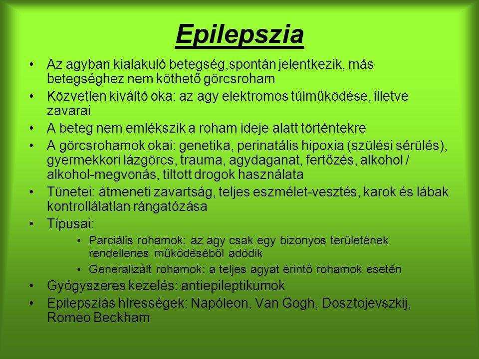 Epilepszia Az agyban kialakuló betegség,spontán jelentkezik, más betegséghez nem köthető görcsroham Közvetlen kiváltó oka: az agy elektromos túlműködése, illetve zavarai A beteg nem emlékszik a roham ideje alatt történtekre A görcsrohamok okai: genetika, perinatális hipoxia (szülési sérülés), gyermekkori lázgörcs, trauma, agydaganat, fertőzés, alkohol / alkohol-megvonás, tiltott drogok használata Tünetei: átmeneti zavartság, teljes eszmélet-vesztés, karok és lábak kontrollálatlan rángatózása Típusai: Parciális rohamok: az agy csak egy bizonyos területének rendellenes működéséből adódik Generalizált rohamok: a teljes agyat érintő rohamok esetén Gyógyszeres kezelés: antiepileptikumok Epilepsziás hírességek: Napóleon, Van Gogh, Dosztojevszkij, Romeo Beckham