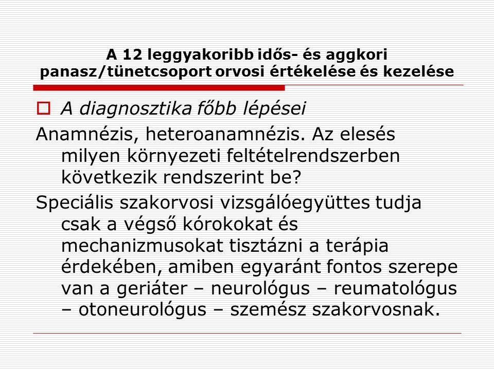 A 12 leggyakoribb idős- és aggkori panasz/tünetcsoport orvosi értékelése és kezelése  A diagnosztika főbb lépései Anamnézis, heteroanamnézis.