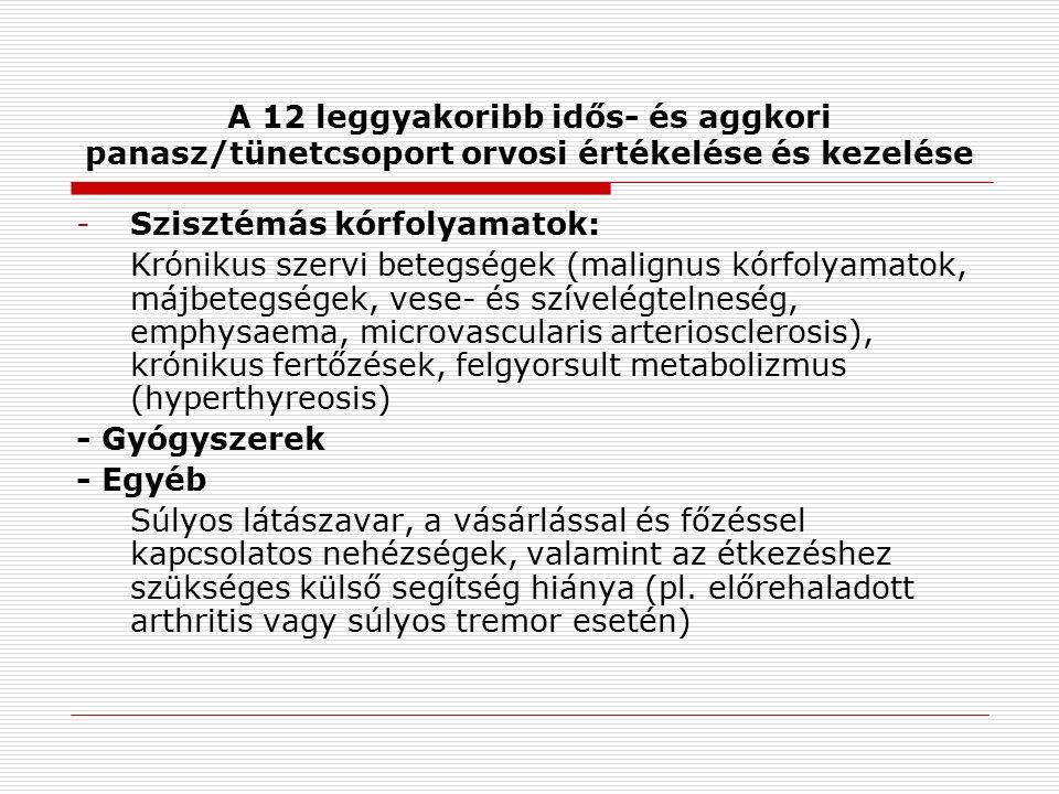 A 12 leggyakoribb idős- és aggkori panasz/tünetcsoport orvosi értékelése és kezelése -Szisztémás kórfolyamatok: Krónikus szervi betegségek (malignus kórfolyamatok, májbetegségek, vese- és szívelégtelneség, emphysaema, microvascularis arteriosclerosis), krónikus fertőzések, felgyorsult metabolizmus (hyperthyreosis) - Gyógyszerek - Egyéb Súlyos látászavar, a vásárlással és főzéssel kapcsolatos nehézségek, valamint az étkezéshez szükséges külső segítség hiánya (pl.