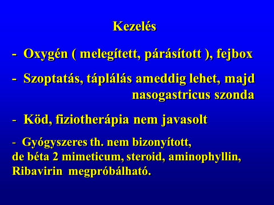 Kezelés - Oxygén ( melegített, párásított ), fejbox - Szoptatás, táplálás ameddig lehet, majd nasogastricus szonda - Köd, fiziotherápia nem javasolt - Gyógyszeres th.