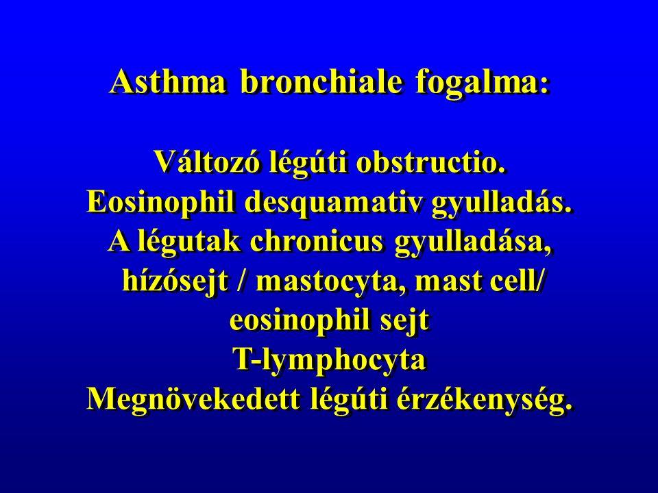 Asthma bronchiale fogalma : Változó légúti obstructio.