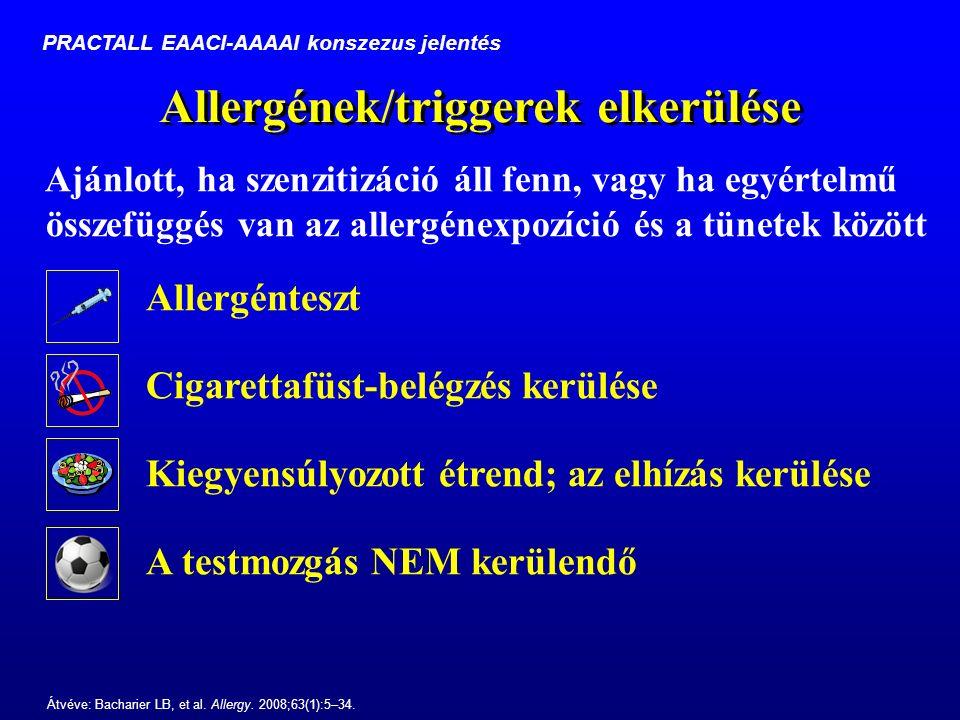 Allergének/triggerek elkerülése Ajánlott, ha szenzitizáció áll fenn, vagy ha egyértelmű összefüggés van az allergénexpozíció és a tünetek között Átvéve: Bacharier LB, et al.