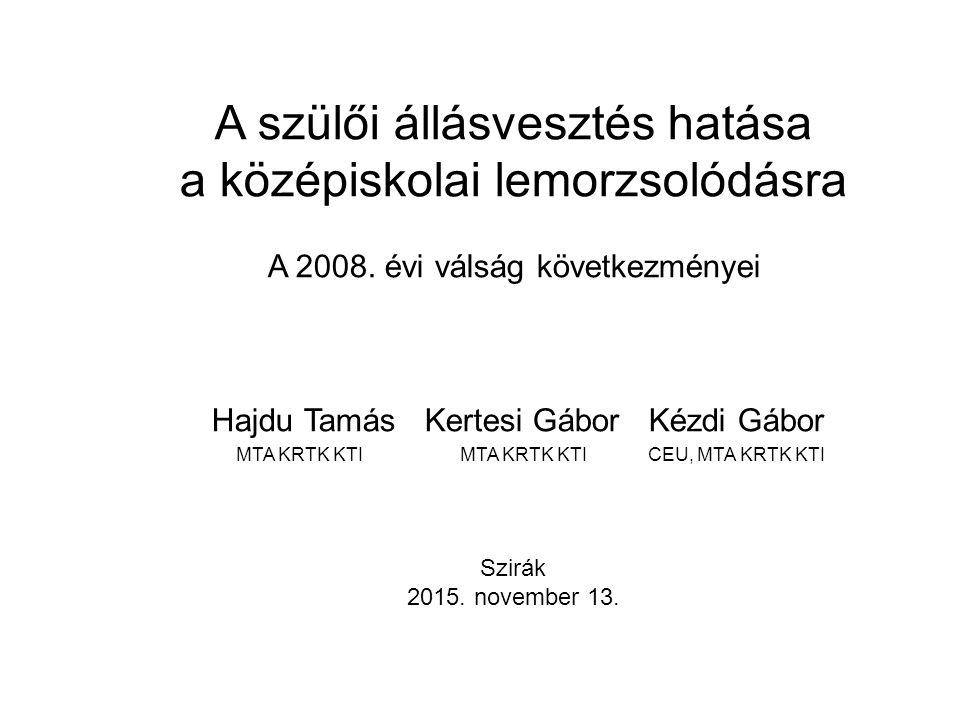 A szülői állásvesztés hatása a középiskolai lemorzsolódásra A 2008.