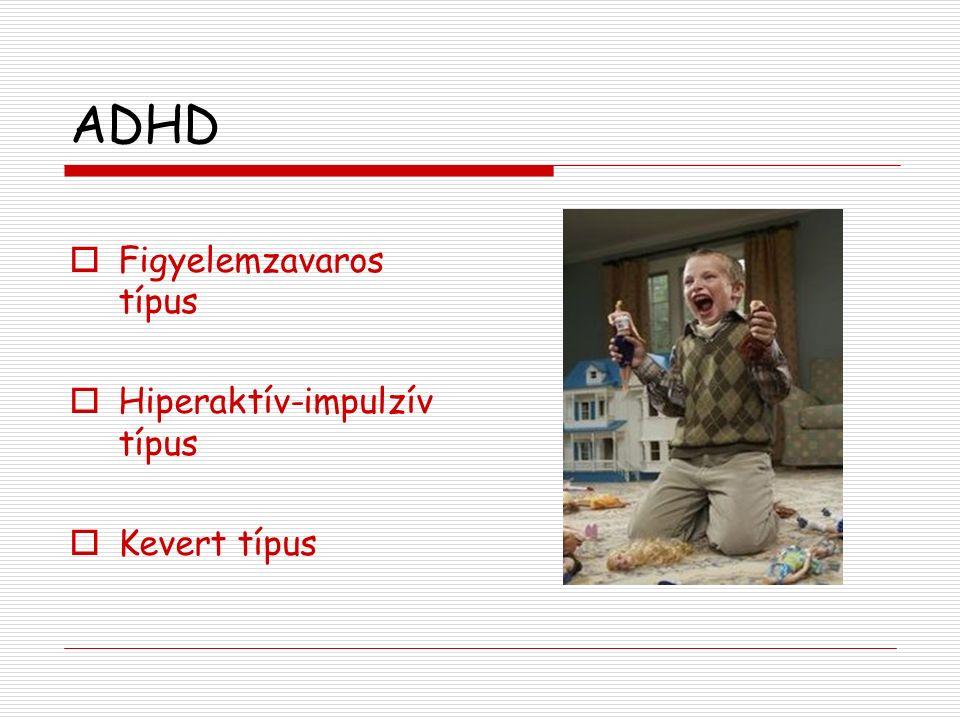 ADHD  Figyelemzavaros típus  Hiperaktív-impulzív típus  Kevert típus