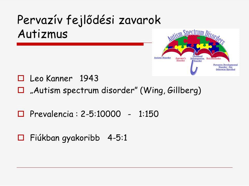 Autizmus  Diagnosztikus triád: (BNO-10, DSM-IV) - szociális zavarok - kommunikáció zavara - beszűkült és repetitív érdeklődés és viselkedés A tünetek 3 éves kor alatt jelentkeznek