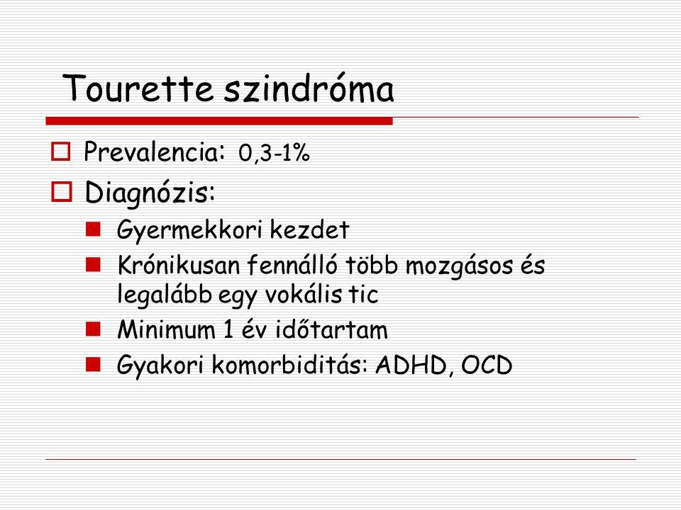 Tourette szindróma  Prevalencia : 0,3-1%  Diagnózis: Gyermekkori kezdet Krónikusan fennálló több mozgásos és legalább egy vokális tic Minimum 1 év időtartam Gyakori komorbiditás: ADHD, OCD