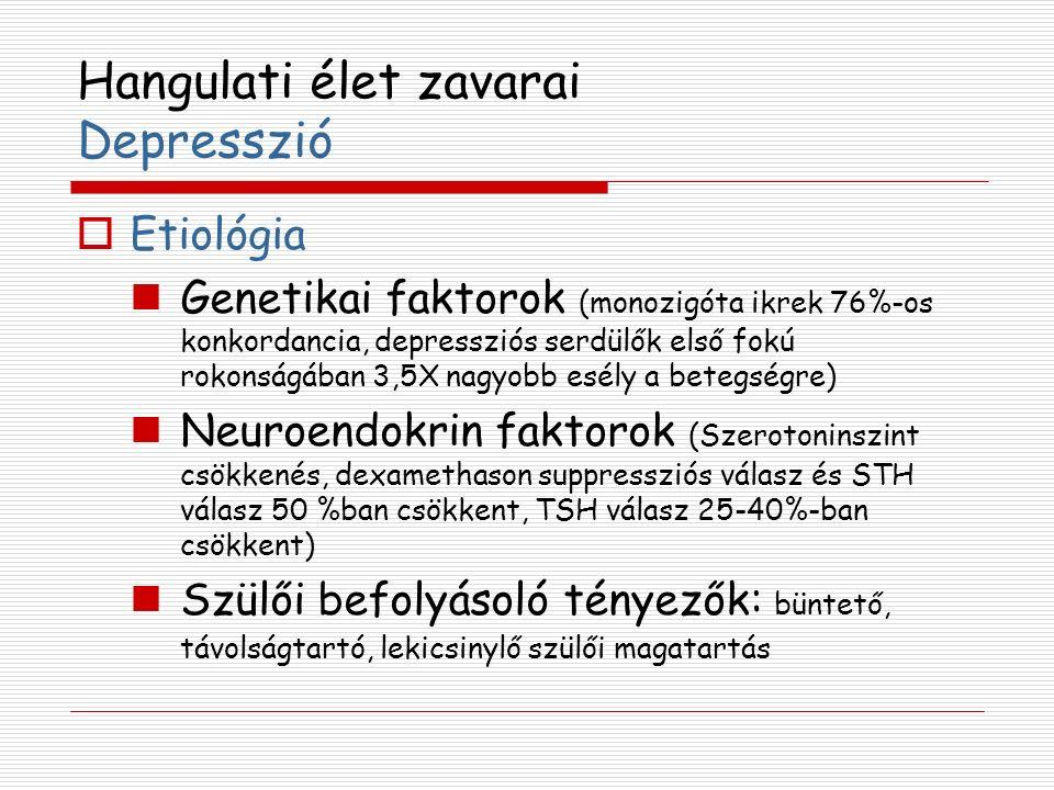 Hangulati élet zavarai Depresszió  Etiológia Genetikai faktorok (monozigóta ikrek 76%-os konkordancia, depressziós serdülők első fokú rokonságában 3,5X nagyobb esély a betegségre) Neuroendokrin faktorok (Szerotoninszint csökkenés, dexamethason suppressziós válasz és STH válasz 50 %ban csökkent, TSH válasz 25-40%-ban csökkent) Szülői befolyásoló tényezők: büntető, távolságtartó, lekicsinylő szülői magatartás