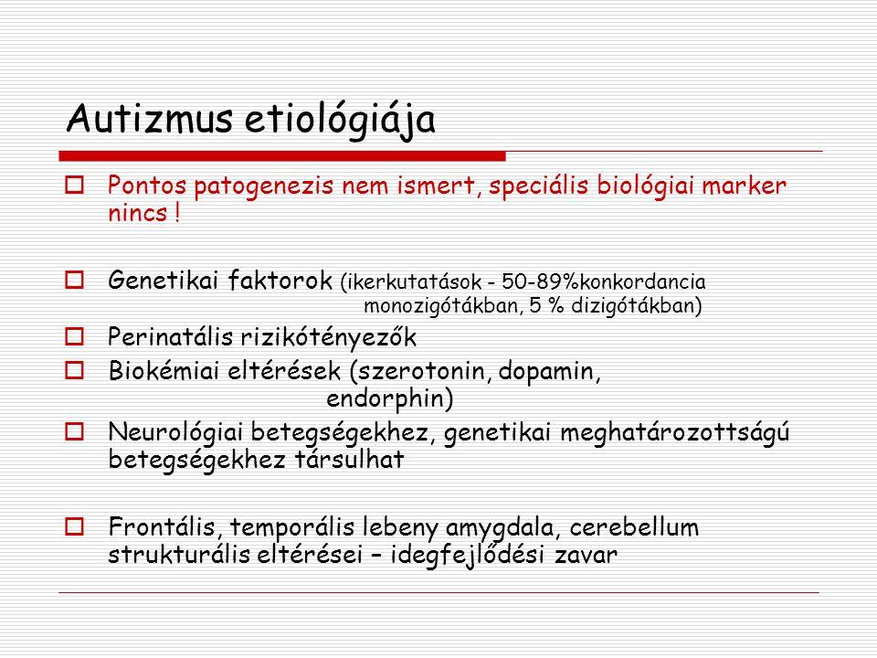 Autizmus etiológiája  Pontos patogenezis nem ismert, speciális biológiai marker nincs .