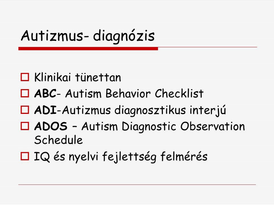 Autizmus- diagnózis  Klinikai tünettan  ABC- Autism Behavior Checklist  ADI-Autizmus diagnosztikus interjú  ADOS – Autism Diagnostic Observation Schedule  IQ és nyelvi fejlettség felmérés