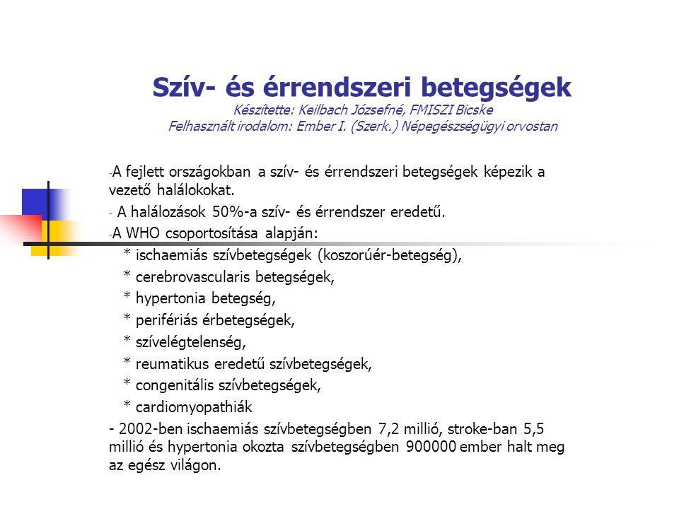 Szív- és érrendszeri betegségek Készítette: Keilbach Józsefné, FMISZI Bicske Felhasznált irodalom: Ember I.