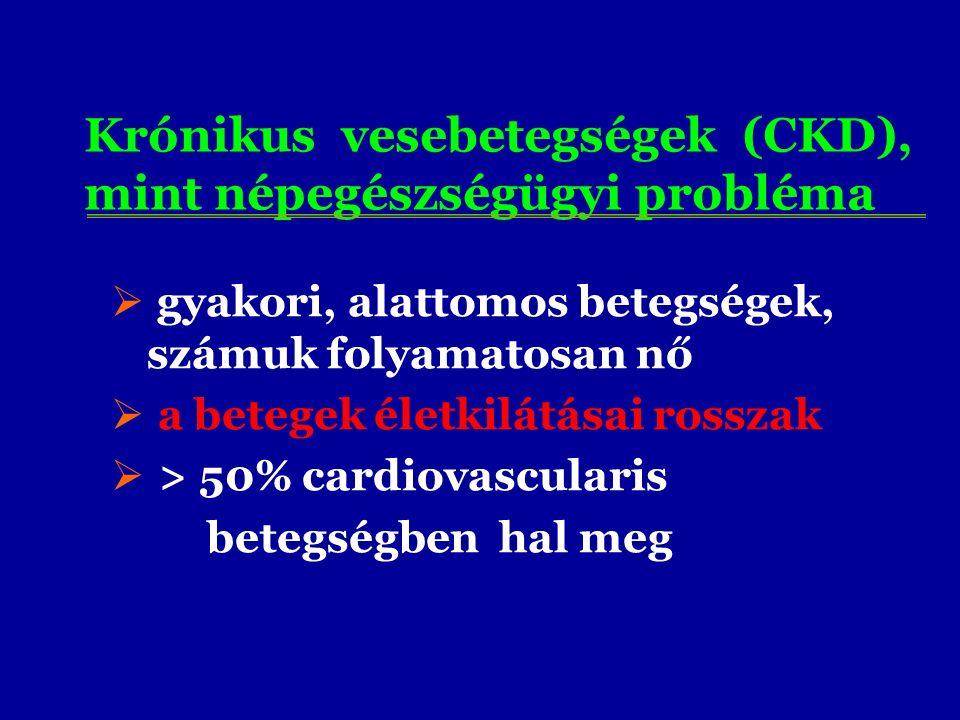 Krónikus vesebetegségek (CKD), mint népegészségügyi probléma  gyakori, alattomos betegségek, számuk folyamatosan nő  a betegek életkilátásai rosszak