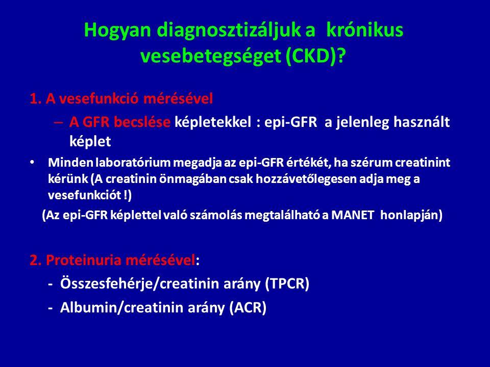 Hogyan diagnosztizáljuk a krónikus vesebetegséget (CKD)? 1. A vesefunkció mérésével – A GFR becslése képletekkel : epi-GFR a jelenleg használt képlet