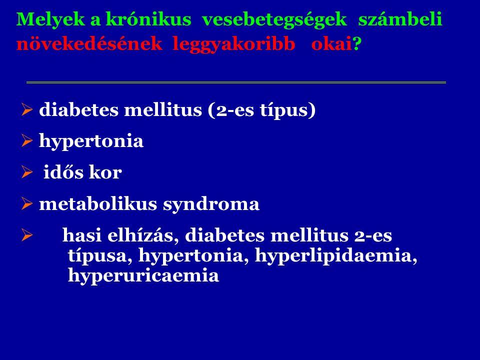 Melyek a krónikus vesebetegségek számbeli növekedésének leggyakoribb okai?  diabetes mellitus (2-es típus)  hypertonia  idős kor  metabolikus synd