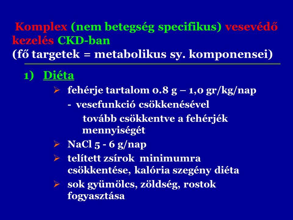 Komplex (nem betegség specifikus) vesevédő kezelés CKD-ban (fő targetek = metabolikus sy. komponensei) 1)Diéta  fehérje tartalom 0.8 g – 1,0 gr/kg/na