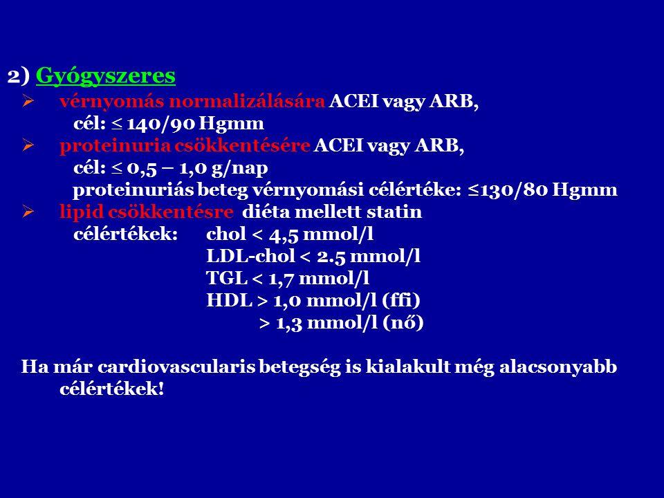2) Gyógyszeres  vérnyomás normalizálására ACEI vagy ARB, cél:  140/90 Hgmm  proteinuria csökkentésére ACEI vagy ARB, cél:  0,5 – 1,0 g/nap proteinuriás beteg vérnyomási célértéke: ≤130/80 Hgmm  lipid csökkentésre diéta mellett statin célértékek: chol < 4,5 mmol/l LDL-chol < 2.5 mmol/l TGL < 1,7 mmol/l HDL > 1,0 mmol/l (ffi) > 1,3 mmol/l (nő) Ha már cardiovascularis betegség is kialakult még alacsonyabb célértékek!
