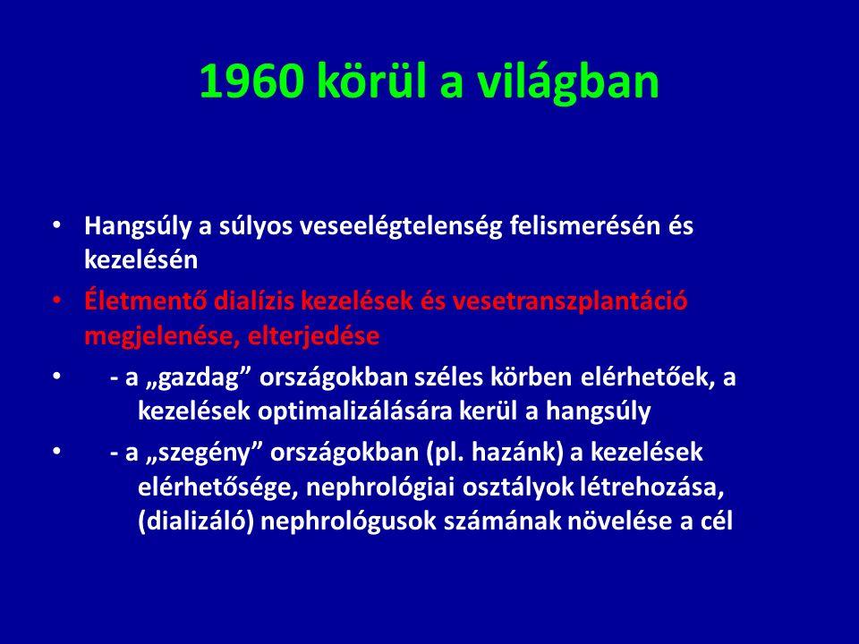 1960 körül a világban Hangsúly a súlyos veseelégtelenség felismerésén és kezelésén Életmentő dialízis kezelések és vesetranszplantáció megjelenése, el