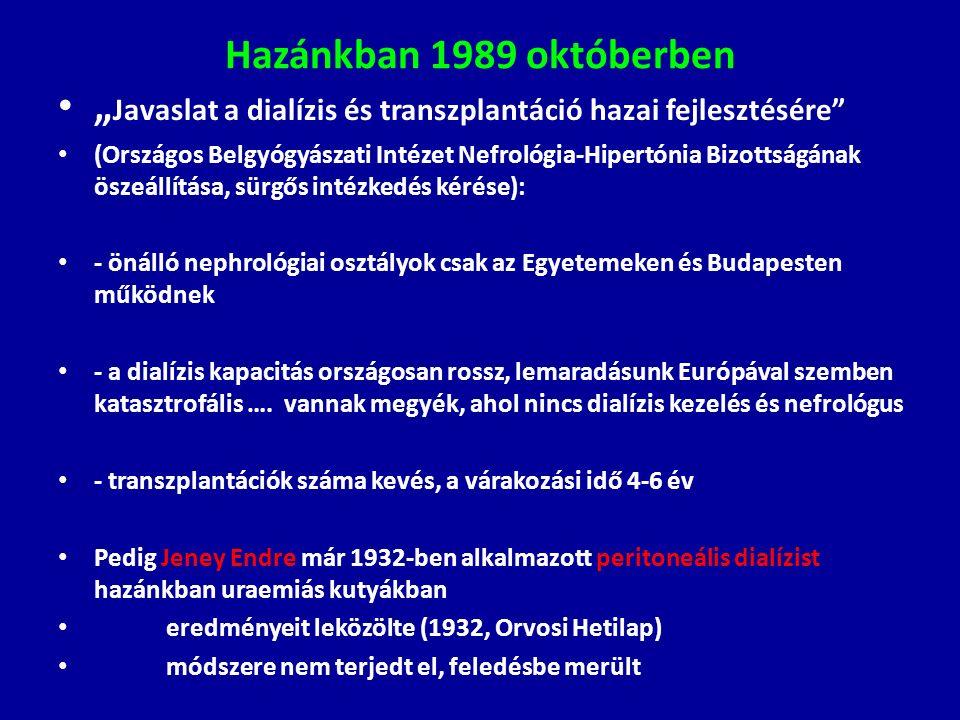 """Hazánkban 1989 októberben """" Javaslat a dialízis és transzplantáció hazai fejlesztésére"""" (Országos Belgyógyászati Intézet Nefrológia-Hipertónia Bizotts"""