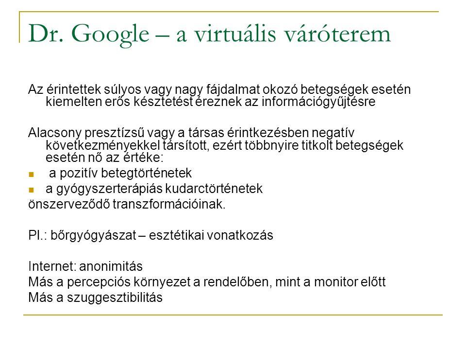 Dr. Google – a virtuális váróterem Az érintettek súlyos vagy nagy fájdalmat okozó betegségek esetén kiemelten erős késztetést éreznek az információgyű