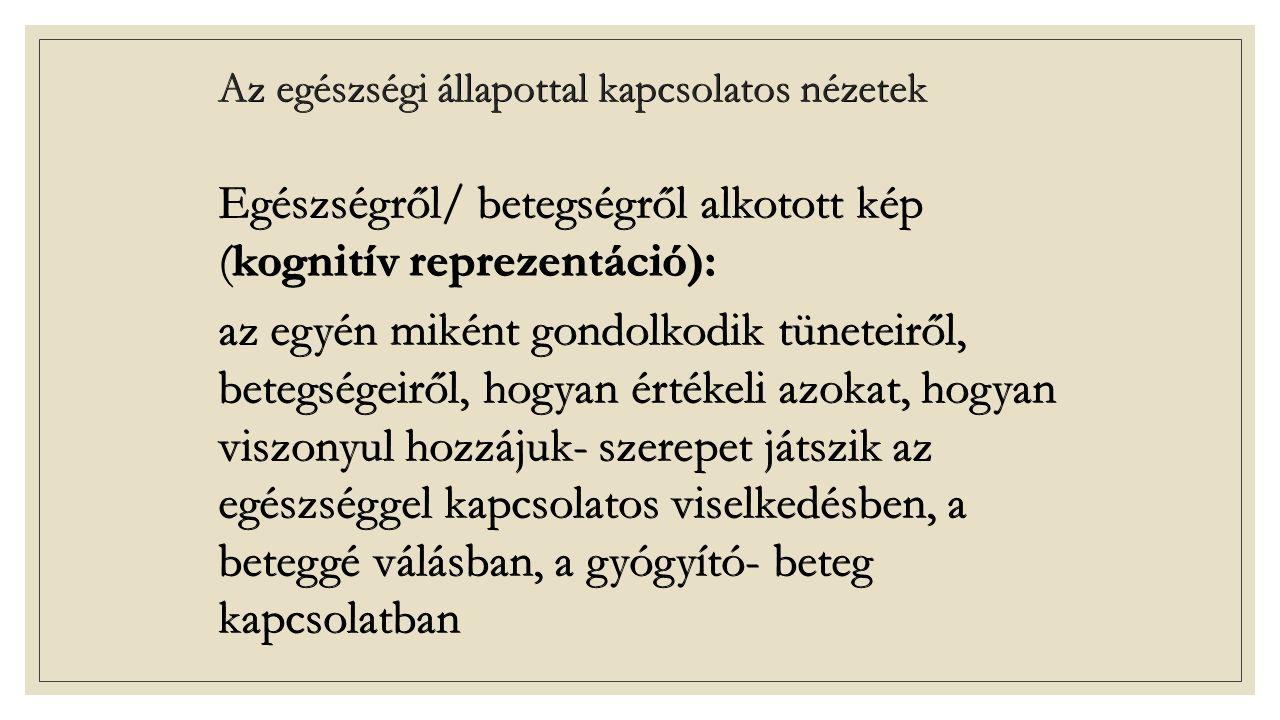 Laikus betegségelméletek Leventhal és mtsai (1980) Leventhal és mtsai (1980) Benne foglaltatik: Benne foglaltatik: Konkrét tünetek, és egy címke, ami segíti a betegségprobléma azonosítását Konkrét tünetek, és egy címke, ami segíti a betegségprobléma azonosítását A probléma rövid- és hosszútávú konzekvenciái A probléma rövid- és hosszútávú konzekvenciái Idői lefolyás Idői lefolyás A probléma oka A probléma oka A gyógyulás feltételezett eszközei A gyógyulás feltételezett eszközei Döntési szabályok: ezek segítségével különíti el az egyén, hogy a tünetei betegség jeleként értelmezendő-e vagy sem.