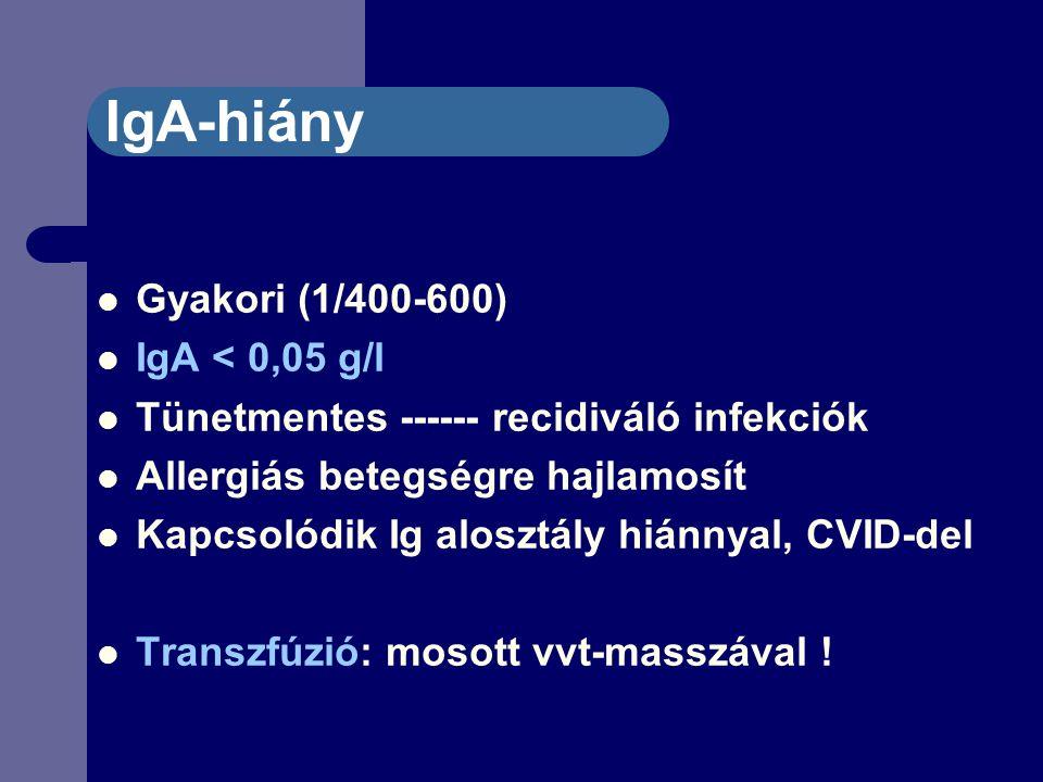 IgA-hiány Gyakori (1/400-600) IgA < 0,05 g/l Tünetmentes ------ recidiváló infekciók Allergiás betegségre hajlamosít Kapcsolódik Ig alosztály hiánnyal, CVID-del Transzfúzió: mosott vvt-masszával !