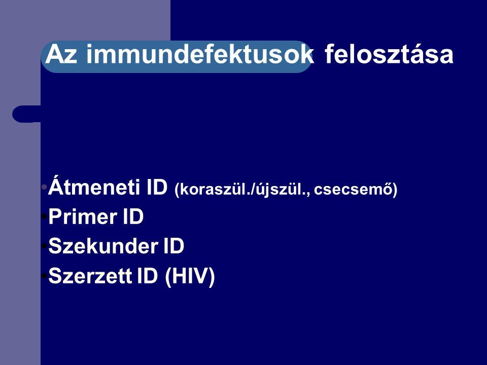 Átmeneti ID (koraszül./újszül., csecsemő) Primer ID Szekunder ID Szerzett ID (HIV) Az immundefektusok felosztása
