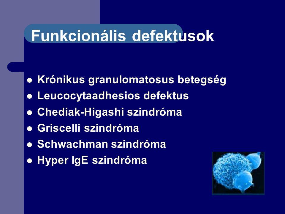 Funkcionális defektusok Krónikus granulomatosus betegség Leucocytaadhesios defektus Chediak-Higashi szindróma Griscelli szindróma Schwachman szindróma Hyper IgE szindróma