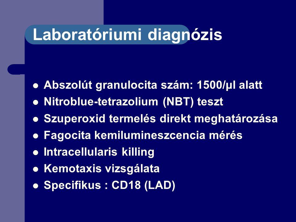 Laboratóriumi diagnózis Abszolút granulocita szám: 1500/μl alatt Nitroblue-tetrazolium (NBT) teszt Szuperoxid termelés direkt meghatározása Fagocita kemilumineszcencia mérés Intracellularis killing Kemotaxis vizsgálata Specifikus : CD18 (LAD)