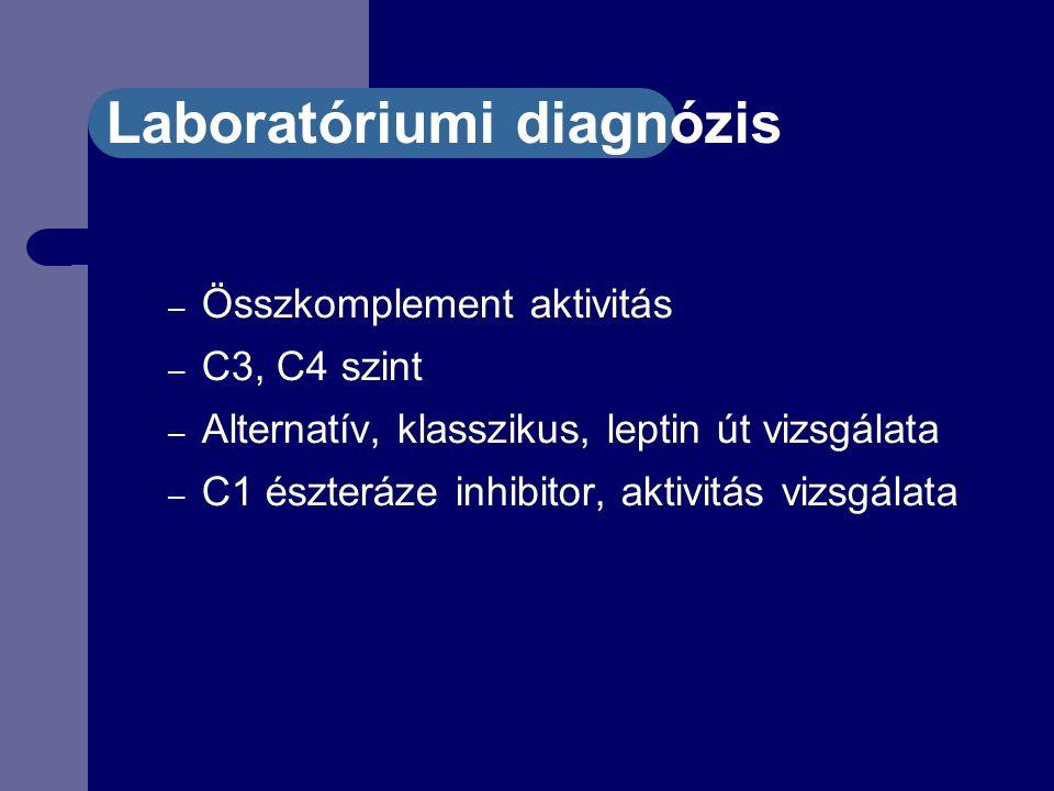 Laboratóriumi diagnózis – Összkomplement aktivitás – C3, C4 szint – Alternatív, klasszikus, leptin út vizsgálata – C1 észteráze inhibitor, aktivitás vizsgálata