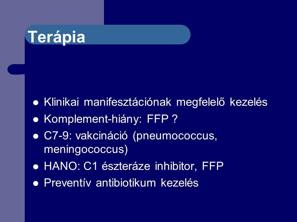 Terápia Klinikai manifesztációnak megfelelő kezelés Komplement-hiány: FFP .