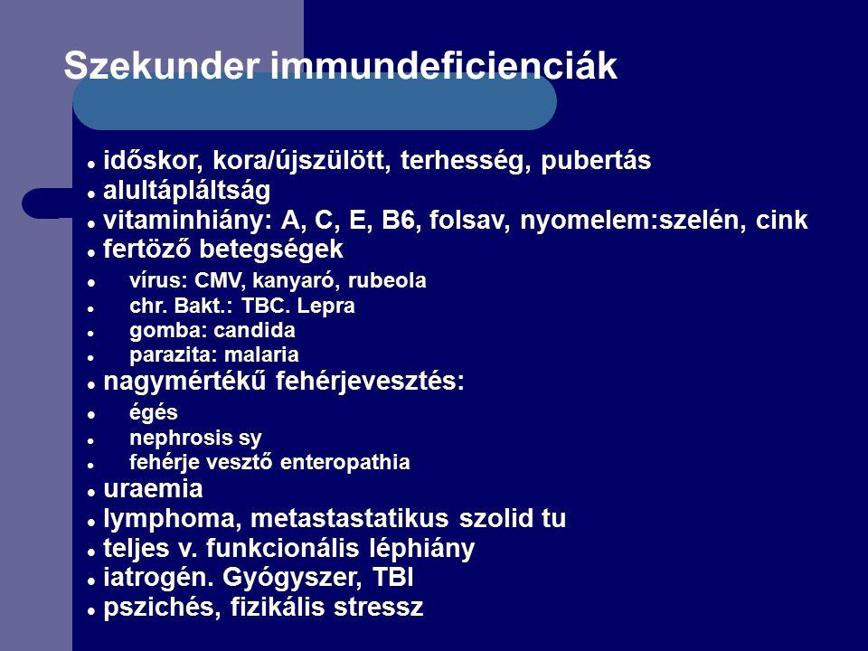 Szekunder immundeficienciák időskor, kora/újszülött, terhesség, pubertás alultápláltság vitaminhiány: A, C, E, B6, folsav, nyomelem:szelén, cink fertöző betegségek vírus: CMV, kanyaró, rubeola chr.