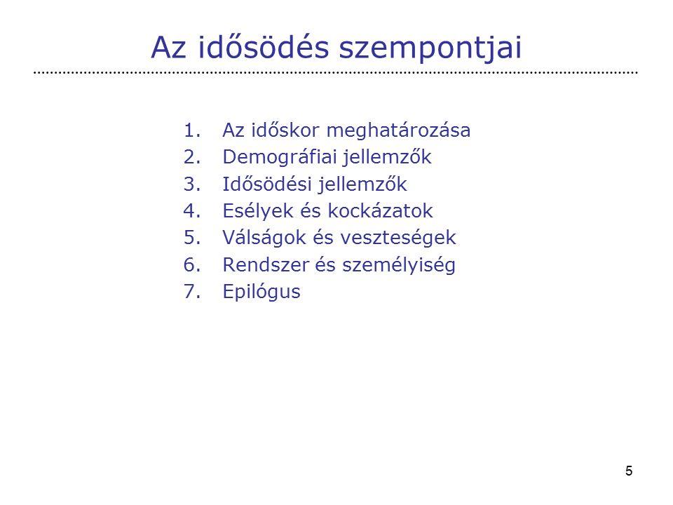 5 1.Az időskor meghatározása 2.Demográfiai jellemzők 3.Idősödési jellemzők 4.Esélyek és kockázatok 5.Válságok és veszteségek 6.Rendszer és személyiség 7.Epilógus Az idősödés szempontjai