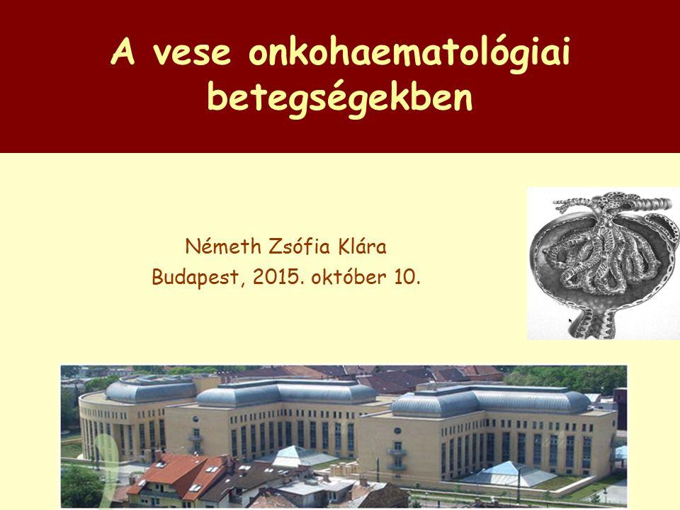 A vese onkohaematológiai betegségekben Németh Zsófia Klára Budapest, 2015. október 10.