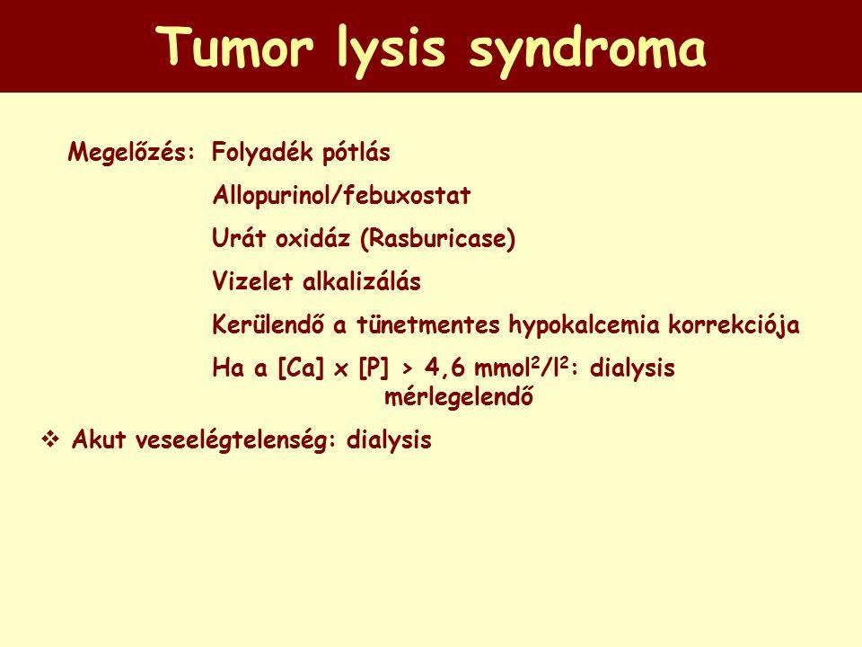 Tumor lysis syndroma  Megelőzés: Folyadék pótlás Allopurinol/febuxostat Urát oxidáz (Rasburicase) Vizelet alkalizálás Kerülendő a tünetmentes hypokalcemia korrekciója Ha a [Ca] x [P] > 4,6 mmol 2 /l 2 : dialysis mérlegelendő  Akut veseelégtelenség: dialysis