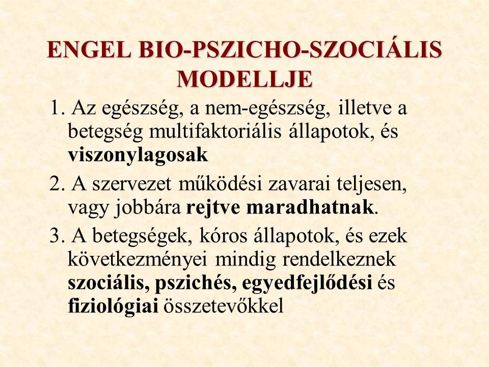 ENGEL BIO-PSZICHO-SZOCIÁLIS MODELLJE 1. Az egészség, a nem-egészség, illetve a betegség multifaktoriális állapotok, és viszonylagosak 2. A szervezet m