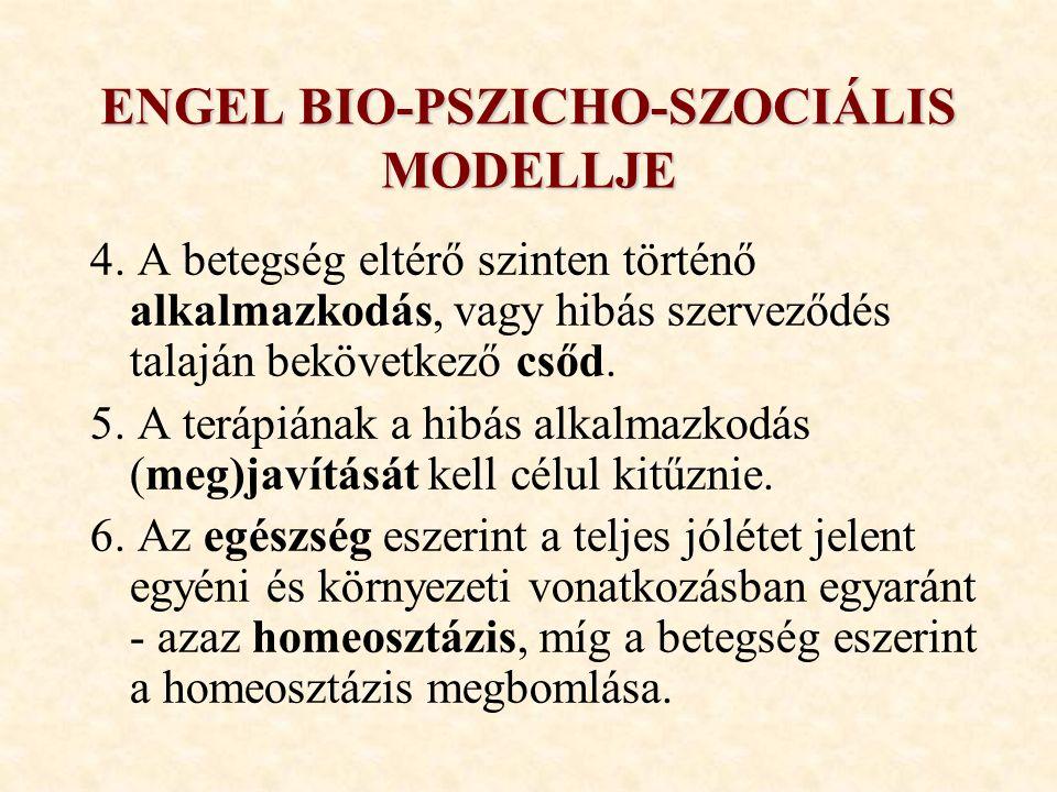 ENGEL BIO-PSZICHO-SZOCIÁLIS MODELLJE 4. A betegség eltérő szinten történő alkalmazkodás, vagy hibás szerveződés talaján bekövetkező csőd. 5. A terápiá